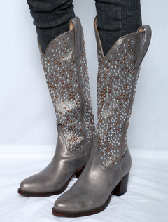 1ba18f2440 Botas de vaquero para mujer Botas de tacón grueso con punta en punta gris