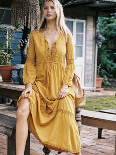 Vestido Boho de manga larga con cuello redondo de encaje Maxi vestido  amarillo b5c6adc572f9