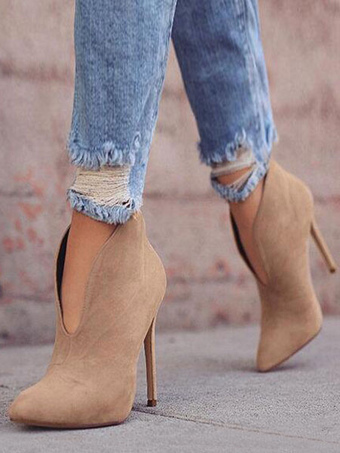 8cb40489cbf8 High Heel Booties Suede Pointed Toe Ankle Boots For Women