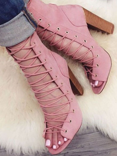1d309db6dc07 Pink Gladiator Sandals Suede Open Toe Lace Up High Heel Sandals For Women