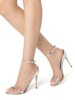 5b572702c Sandálias De Salto Alto 2019 Prata Aberta Toe Tornozelo Sapatos De Festa  Mulheres Sapatos De Baile