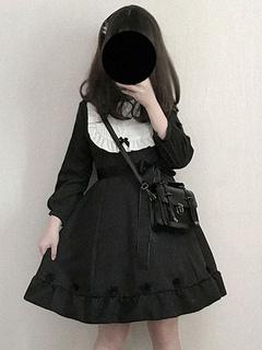 2834a2d957e Vestido clásico de Lolita OP Rozen Maiden Frill Lace Bow Vestido negro de  una pieza de