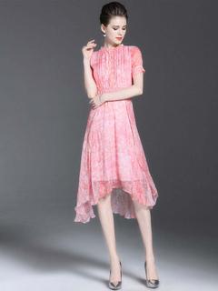 Chiffon Skater Dress Stand Collar Short Sleeve Printed Slim Fit High Low Flare Dress