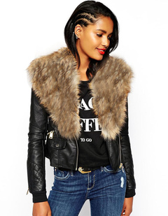 Women Leather Jacket Motorcycle Faux Fur Leather Coat