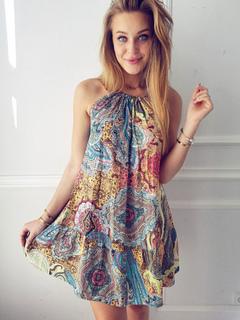 Blue Summer Dress Women Boho Dress Jewel Neck Sleeveless Printed Short Dress