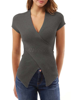 Grey T Shirt V Neck Short Sleeve Cross Front Sexy Top For Women