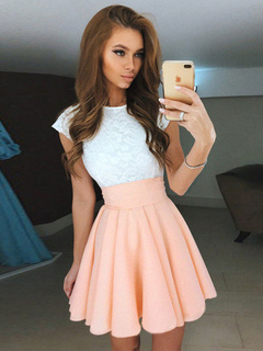 Women Skater Dress Lace Cap Sleeve Round Neck Salmon Two Tone Mini Dresses