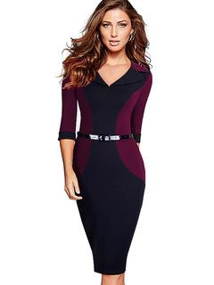 Bodycon Vintage Dress V Neck Women's Contrast Color 3/4 Sleeve Sheath Retro Dress
