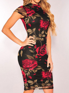 Red Bodycon Dress Crewneck Short Sleeve Floral Printed Short Dress Women Sexy Sheath Dress