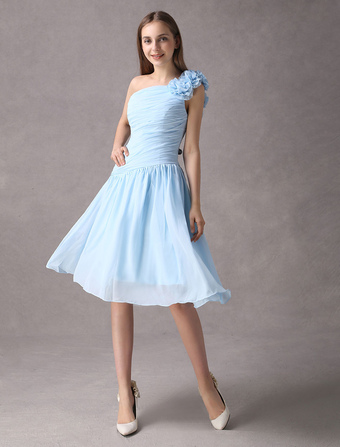 872f3ee4a614 Short Bridesmaid Dress Baby Blue Ruched Chiffon A Line One Shoulder Flower  Cocktail Dress