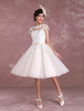 e709814a6bc51a Damen Vintage Brautkleid 2019 A-Linie- knielang Knöpfe mit eingebautem BH  in Elfenbeinfarbe Milanoo