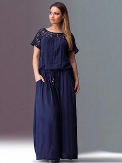 2859776e3446 Maxi Dress taglia forte manica corta in pizzo patchwork abito lungo estivo  blu scuro per donne