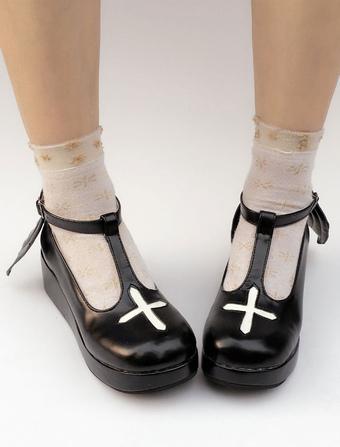 Zapatos de lolita de PU de puntera redonda de dos tonos negros estilo street wear MZfnTRu