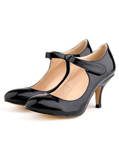 Zapatos de tacón medio estilo informal para pasar por la noche de tacón gordo Piel sintética de puntera cuadrada kpjG1k7c