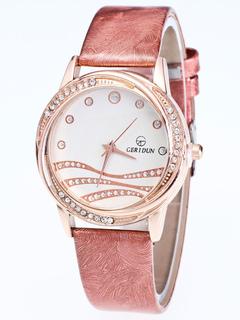 139cd8c5ffa0 Reloj Redondo con pedrería De cuero estilo moderno para mujer hermoso