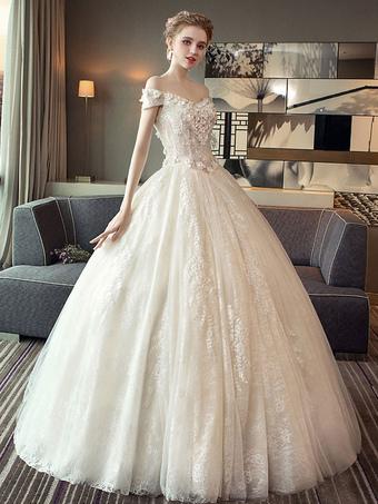 35401530ff9 Кружева Свадебные платья Принцесса бальное платье свадебное платье из плеча  слоновая кость цветы Аппликация длина пола