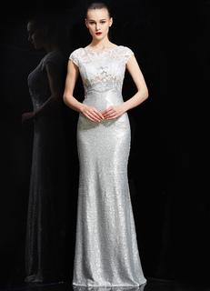 ab8e46ce597f3db Иллюзия Бато шеи чистой спине блестками Русалка вечернее платье в золото и  серебро