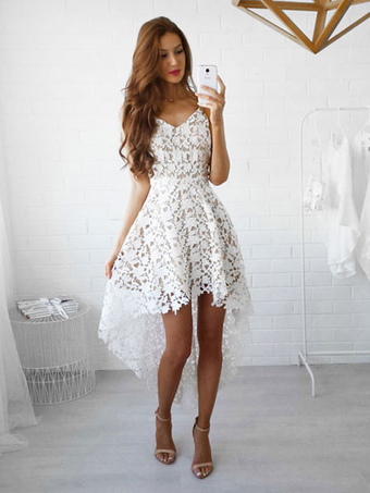 60bb5ee3024 White Lace Dress Spaghetti Straps High Low Semi Sheer Short Dress