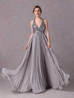 628eb4f8f Silver A-line Halter Floor Length Chiffon Satin Evening Dress