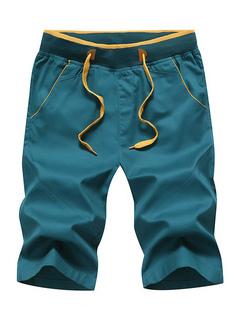 9fc572852254 Casual Men Shorts Plus Size Summer Shorts Drawstring Solid Color Cotton  Shorts