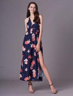 44ddc931ff45 Women Maxi Dress Summer Sleeveless Floral Print Split Dark Navy Long Slip  Dresses