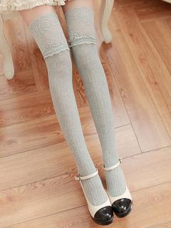 e2862483187 Sweet Lolita Stockings Lace Trim Jacquard Vertical Stripes Lolita Thigh  Highs