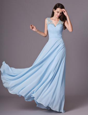 9751fc727 Vestido de damas de honor de chifón con cuello en V sin mangas