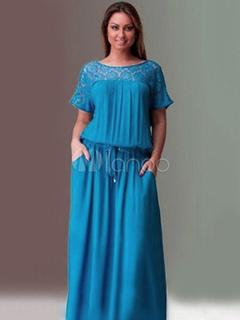e16168ea6694 Vestido Maxi tamanho grande manga curta laço de patchwork escuro vestido  azul escuro para mulheres