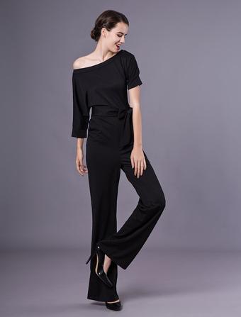 Attrayante combinaison féminine 2019 mode unicolore avec ceinture boîte de  nuit 3958456ec3a