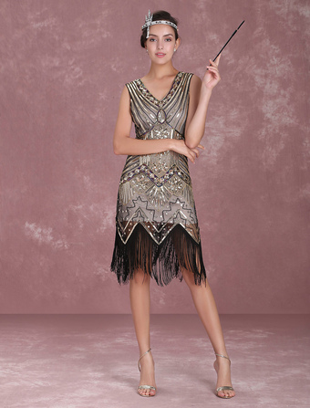 700585281 Great Gatsby Flapper Dress 1920s Vintage Costume Women s Apricot Sequined  Tassels Dress Halloween