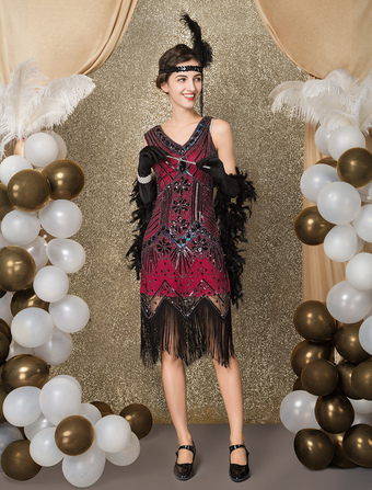 80af0139ff8be Great Gatsby Flapper Dress 1920s Vintage Costume Women s Apricot Sequined  Tassels Dress Halloween
