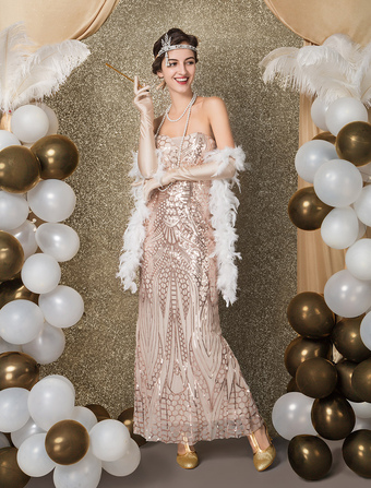 de7812db0f0f8 Great Gatsby Flapper Dress 1920s Vintage Costume Women s Champagne Sequined  Meimaid Dress Halloween