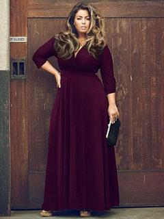 Robe grande taille noire col en V à manches longues robe maxi pour les  femmes 7ad61e40cf7