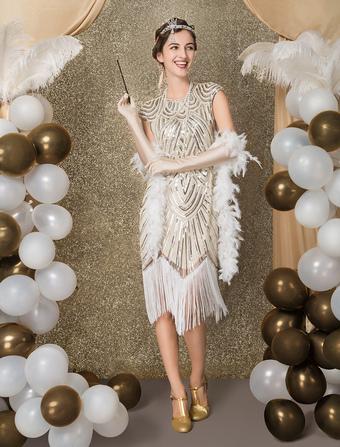 dc22d33a4d33a 1920s Flapper Dress Great Gatsby Costume Women's Sequin Tassels Bead Dress