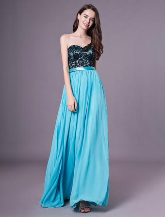 Vestido de fiesta de color agua azul con escote en corazón sin mangas  Milanoo d601e0ab3bf4