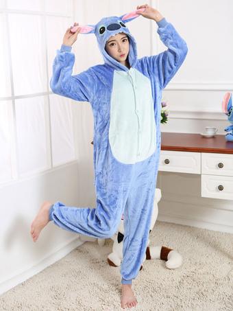 eeae372cc Pijama Kigurumi 2019 Disfraz Stitch lana de franela azul con cremallera  Volver Halloween