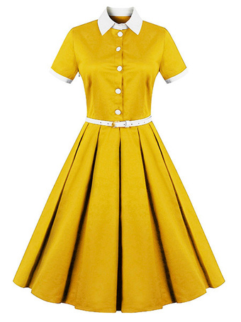 5cfe82cc1e73 Vintage Dress 1950s Women Yellow Shirt Dress Short Sleeve Midi Dress Belted  Retro Swing Dress