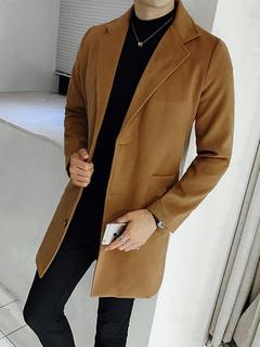 Cappotto comodo cotone misto monocolore con colletto autunno normale  vestibilità Classico. Anteprima Lista dei desideri d7d4b224afd