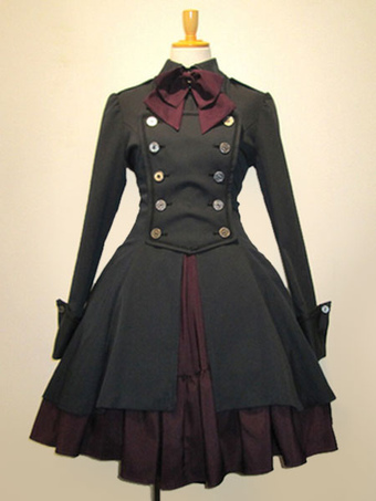 81a42a87159 Gothic Lolita Dress OP Black Cotton Double Breasted Button Long Sleeve Bow  Ruffled Lolita One Piece