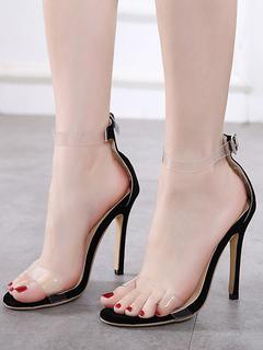 1c7fe119 Sandalias de tacón alto Sandalias con punta negra para el tobillo Zapatos  para mujer Sandalias transparentes