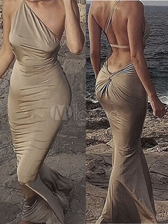 Sexy Club Dress Women s One Shoulder Backless Twisted Mermaid Dress 25e07b236