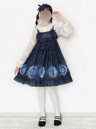 38245ffaee2 Classic Lolita JSK Dress Eclipse Print Ruffle Bow Navy Blue Lolita Jumper  Skirt