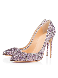 6078dc5fa Women Evening Shoes Glitter Pointed Toe Slip On Party Shoes Lilac High Heels