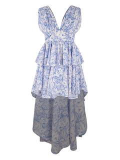 Abito estivo blu Maxi vestito senza maniche scollato peplo stampato alta 0837426a2fe