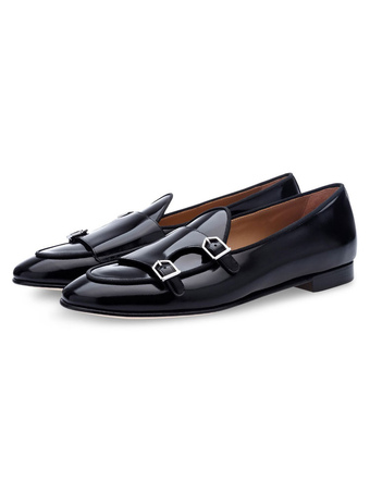 Black Monk Shoes Cowhide Round Toe Buckle Detail Slip On Loafers For Men fbb44c0b0ccb