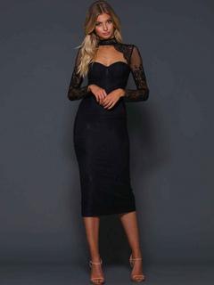 27631039d Vestido de fiesta negro Vestido de manga larga Vestido ajustado Gargantilla  de encaje sin espalda Vestido