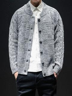 30699197ed96a Homens malha cardigan modelado botão acima cinza claro Cardigan jaqueta