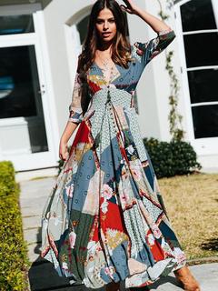 Boho Maxi Dress V Neck Buttons Printed Summer Dress f480051d47fb