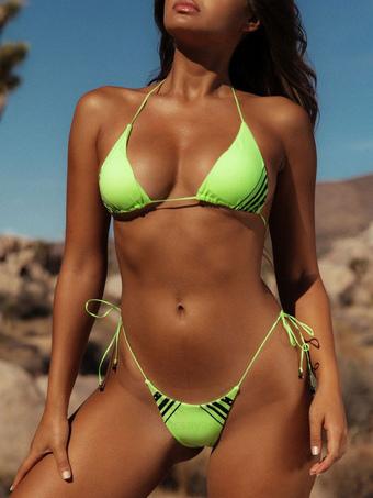 48db5c083d6 Sexy Thong Bikini Neon Swimwear Halter Striped String Bikini Swimsuit