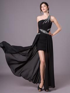 7759bee0b5f5 Abiti da sera neri Abito da sera formale lungo in chiffon con bordino alto e  basso